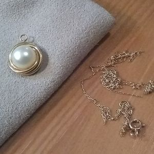 14k Gold Pearl charm with damaged necklace